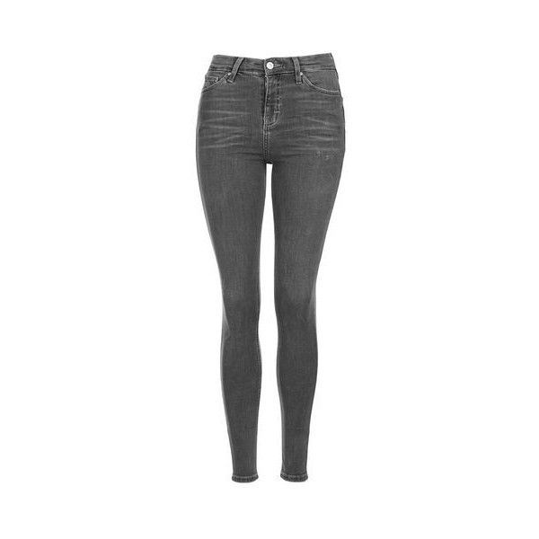 TopShop Moto Grey Jamie Jeans (195 SAR) ❤ liked on Polyvore featuring jeans, grey, grey skinny jeans, high waisted jeans, high-waisted jeans, rock n roll jeans and high rise skinny jeans