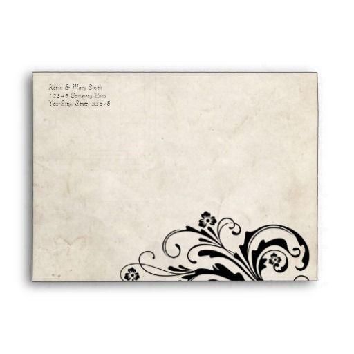 Black Vintage Floral Chic Envelope