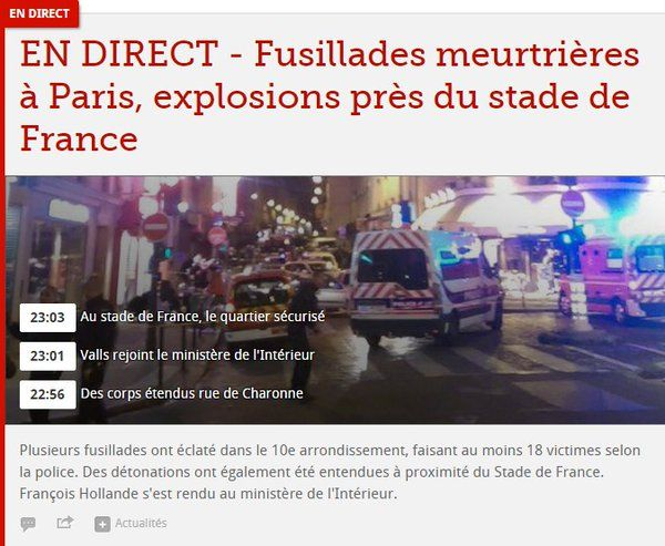 Mes élèves:  I have tried to collect a series of news stories and social media posts to give you an idea of what happened yesterday in Paris.  Some of the videos within the articles are a bit disturbing, so be advised that you may not want to watch those.