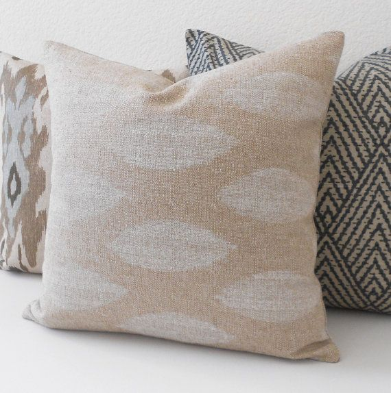 Natural Beige And Cream Ikat Dots Decorative Pillow Cover