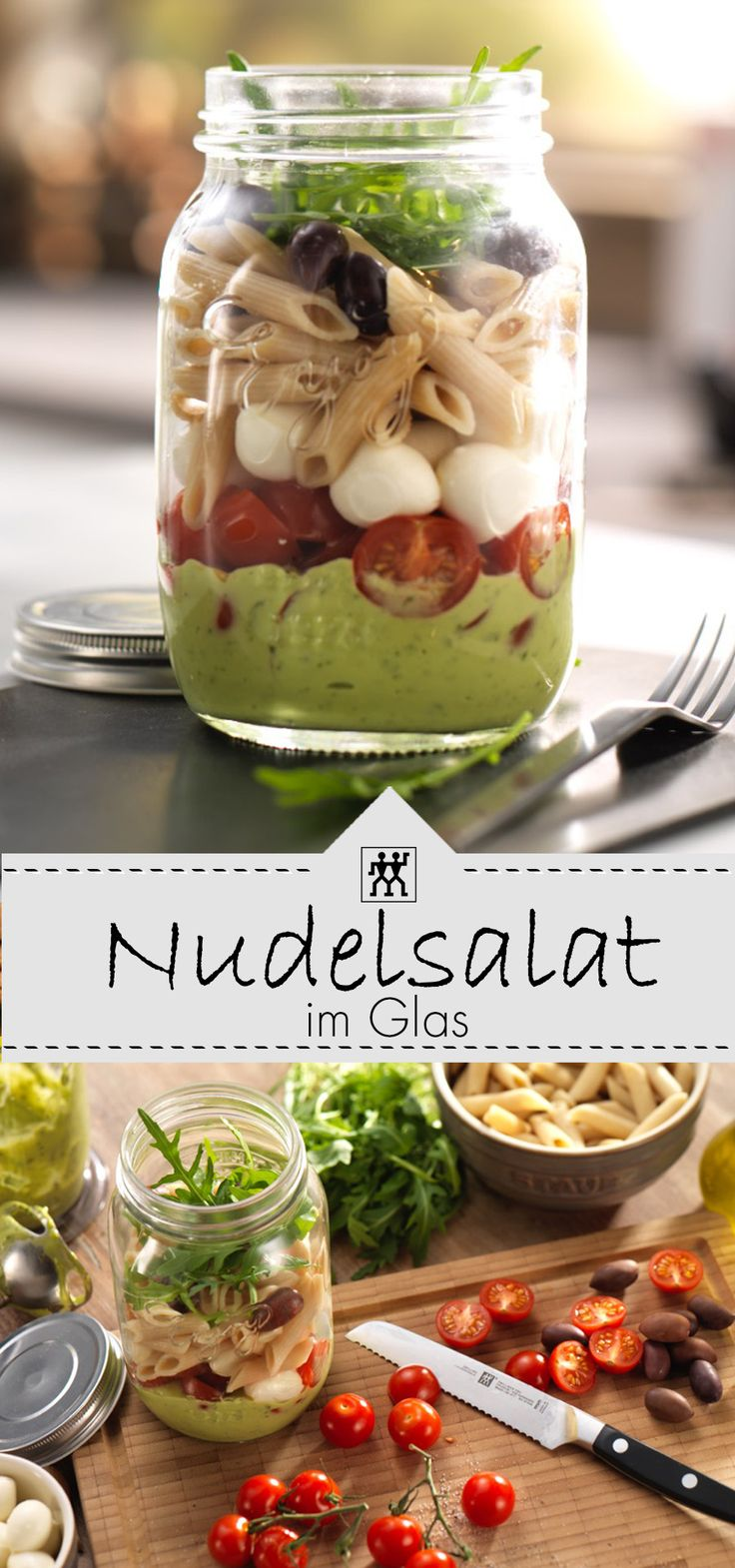 Nudelsalat im Glas – perfekt für unterwegs oder im Büro. Ein Klassiker zum Mit…