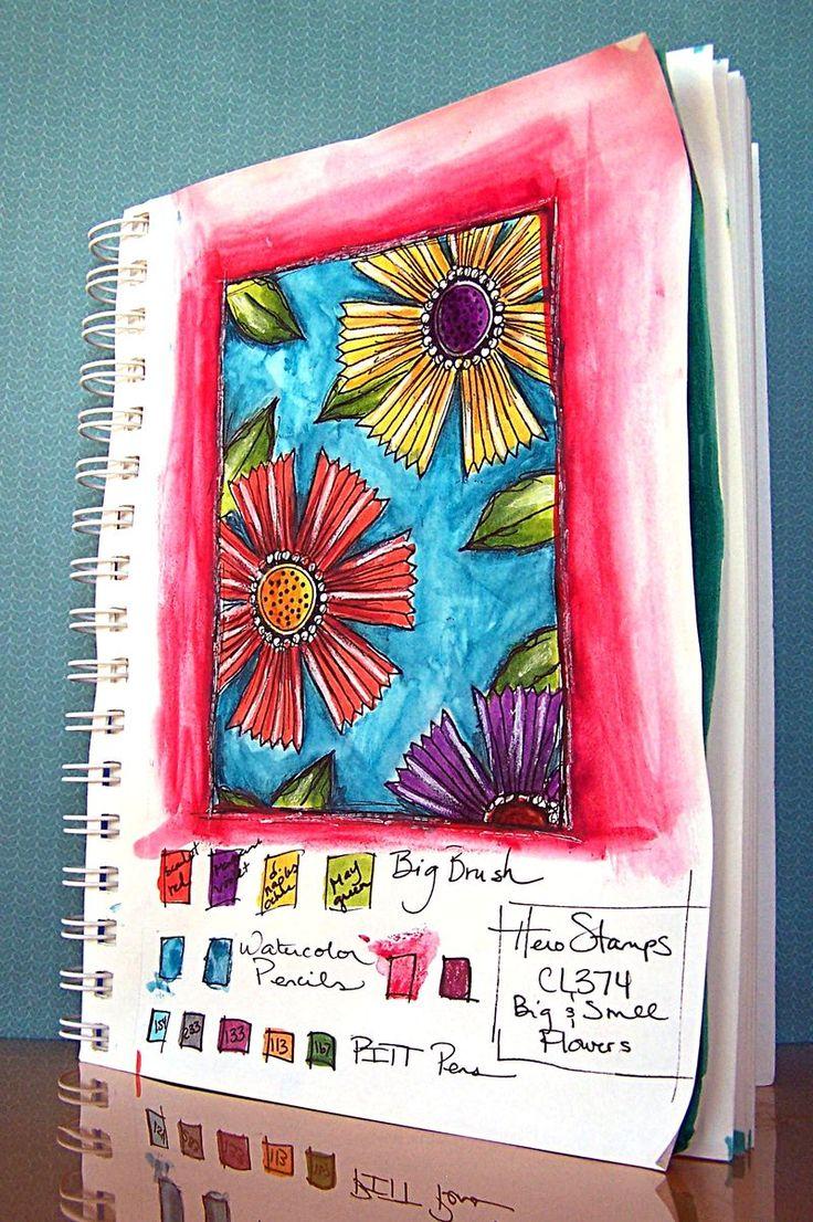 journal art: Sketchbook Sundays, Art Journals, Diy Craft, Journal Sketchbook Ideas, Watercolor Journals, Big Flowers, Flower Entire