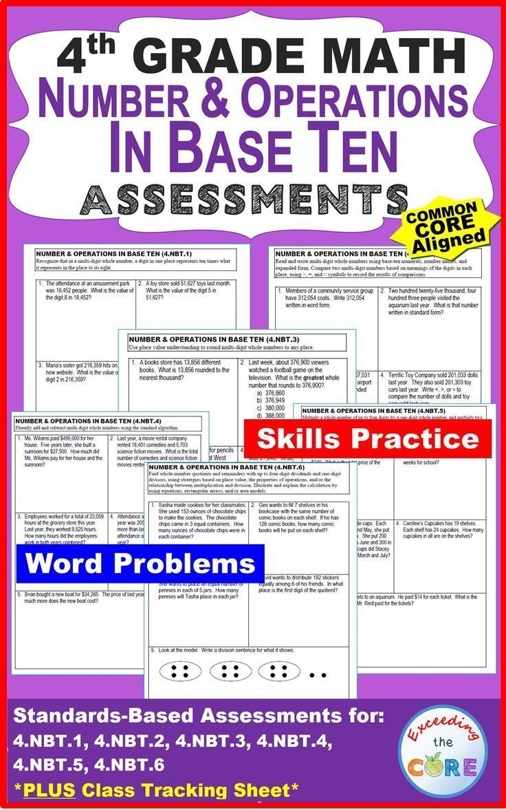 4th Grade NUMBER & OPERATIONS IN BASE TEN Assessments (4.NBT) Common; Students will generalize place value understanding for multi-digit whole numbers & use place value understanding & properties of operations to perform multi-digit arithmetic. Includes a 1-page quick assessment for EVERY standard in the NUMBER & OPERATIONS IN BASE TEN domain for 4th grade & a CLASS TRACKING SHEET.  Perfect for  homework & math stations. 4th grade common core 4.NBT.1, 4.NBT.2, 4.NBT.3, 4.NBT.4, 4.NBT.5…