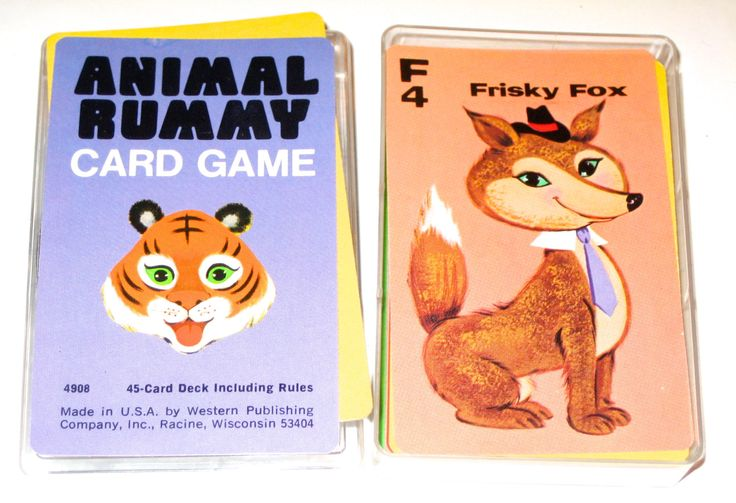 Vintage 70s deck of Animal Rummy playing cards game fox tiger bear elephant by sweetalicelovesyou on Etsy