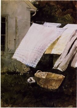 Andrew Wyeth, Light Wash. Oil painting 1961: Clotheslines, Artists, Clothing Line, Small Dogs, Linens Sheet, Laundry Rooms, Paintings, Lighting Wash, Andrew Wyeth Art