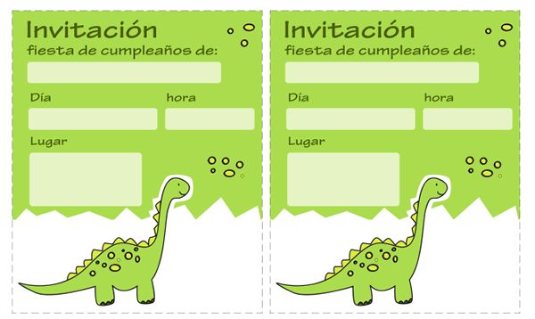 Invitaciones de dinosaurios para imprimir gratis. Puedes descargarlas en: http://dibujos-para-colorear.euroresidentes.com/2013/06/invitaciones-de-dinosaurios-gratis.html