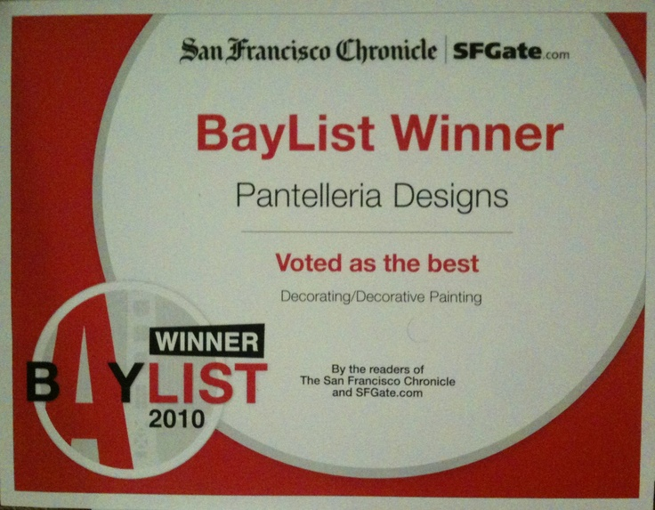 Voted Best Decorative Painting Business in the San Francisco Bay Area by SFGate.com, the online wing of the San Francisco Chronicle