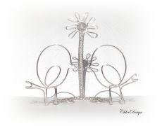 """CHD425 - Suport fotografie """"Love birds"""" (Suport/Decor/Cadou/Aniversare/Marturie/Nunta/Botez)"""