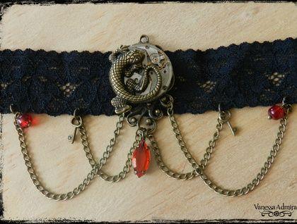 Gorgeous Steampunk Clockwork Lizard Choker Necklace