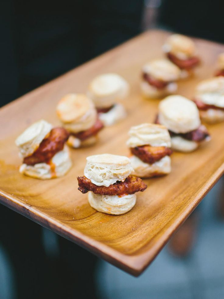 Southern wedding food idea with a fancy take on fried chicken and biscuit sliders