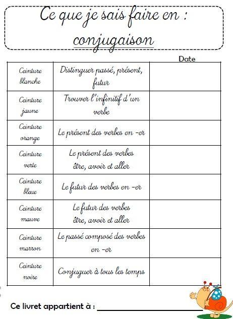 Ceintures de conjugaison CE1 - L'école de Crevette