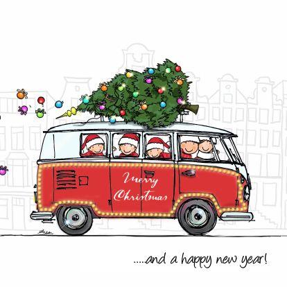 Super leuke en vrolijke kerstkaart, ook doorlopende binnenkant, getekend door Anet van de Vorst, veel plezier ermee.