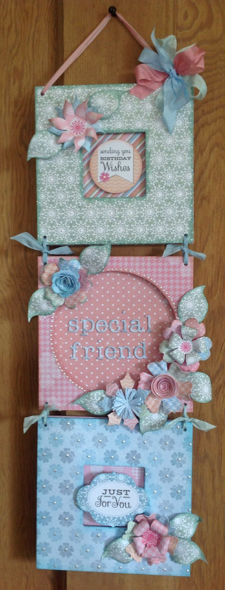 Wall Hanging designed by Julie Hickey using 50 Quick and Easy Card kit.