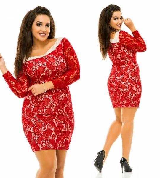 Облегающее гипюровое платье с длинным рукавом большой размер красное