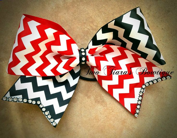 """Chevron red black tick tock bling Cheer Bow 3"""" ribbon Team discounts by Two Tiara's Bowtique on Etsy or Facebook"""