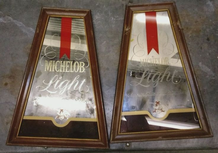 MICHELOB BAR Mirrors TWO Advertisement Vintage 1970 Pub Wood Sign  Man cave