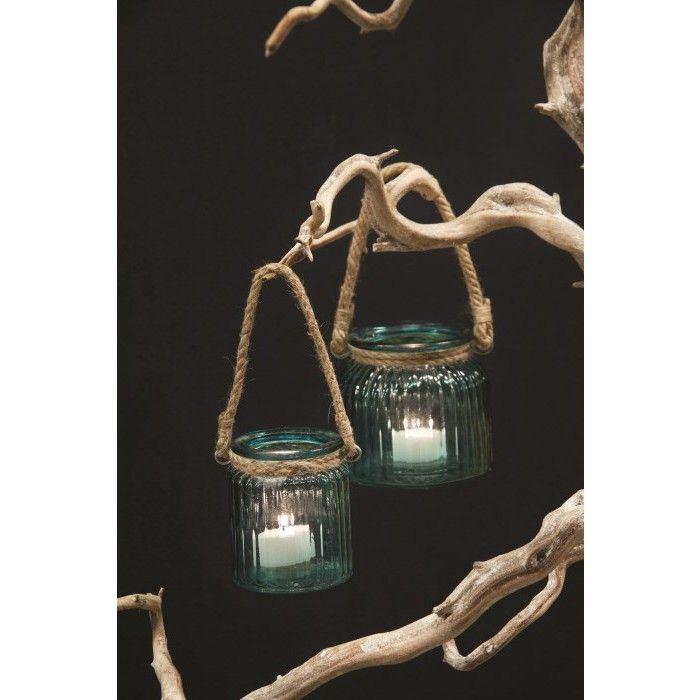 Glass Bodhi blauwe lantaarn touw s - PTMD