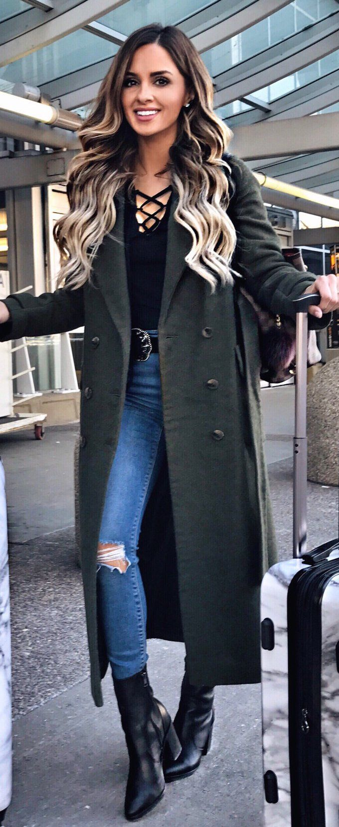 #winter #outfits / Green Coat / Black Laced Up Top / Ripped Skinny Jeans / Black Leather Booties