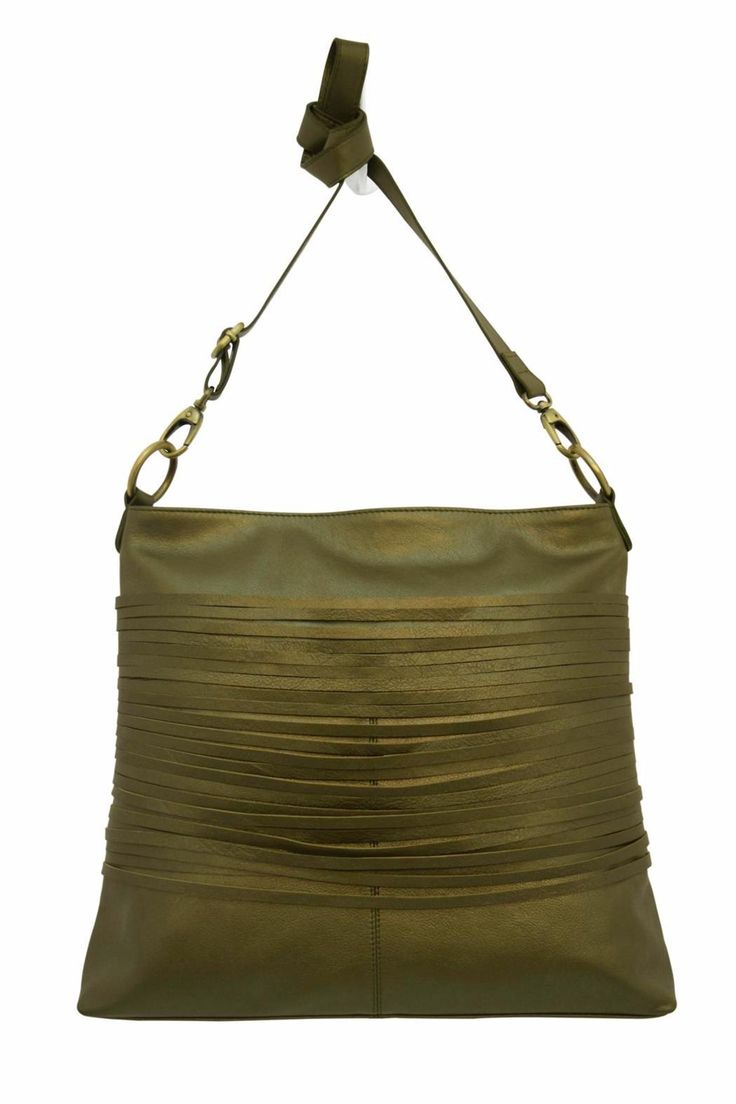 "The Vance Crossbody in Metallic Olive is a 100% leather bag with a 1"" wide adjustable body strap and recessed top zip entry with leather pull. Exterior front features horizontal fringe; exterior back features two open slit pockets; interior back features zip pocket behind organizer; organizer features 2 pen holders, 4 credit card slots and cell phone pocket. Patterned lining. Includes cloth dust bag to protect item when not in use.    Drop: 11.00"" min, 22"" max. Dimensions: 13' X 2.5' X 14'…"