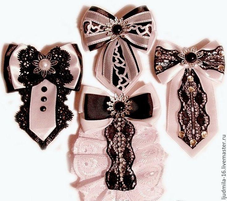 Броши-галстуки - канзаши,брошь канзаши,брошь галстук,брошь под воротник блузы