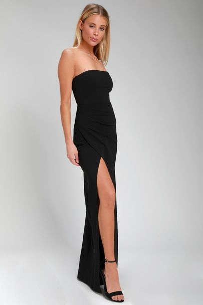 b5d566255d56 Lulus | Foxy Black Strapless Maxi Dress | Size X-Large | My Style ...