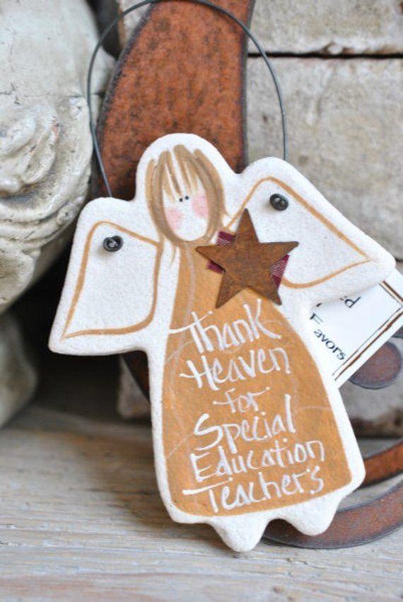 School Counselor Gift Salt Dough Angel Ornament