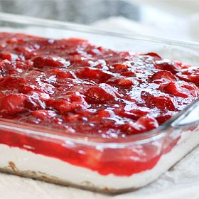 Strawberry Pretzel Salad-I make this during the holidays minus the pineapple and my family loves it. May have to try it with the pineapple this year.
