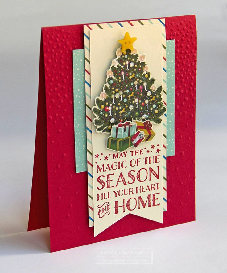 Home for Christmas Tree card using the Cozy Christmas Stamp Set from the Stampin' Up! 2015 Holiday mini catalog. Painted Orange