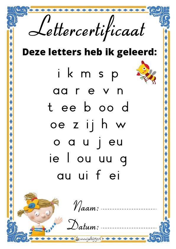 Lettercertificaat - jufbijtje.nl