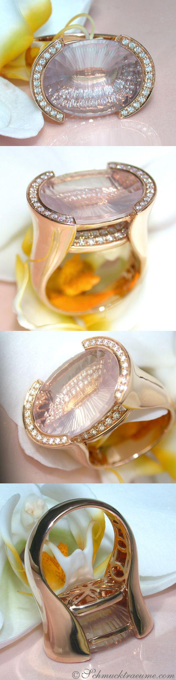Unique Rose Quartz Diamond Ring, 16,88 ct. RG18K - Visit: schmucktraeume.com Mail: info@schmucktraeume.com Like: https://www.facebook.com/pages/Noble-Juwelen/150871984924926