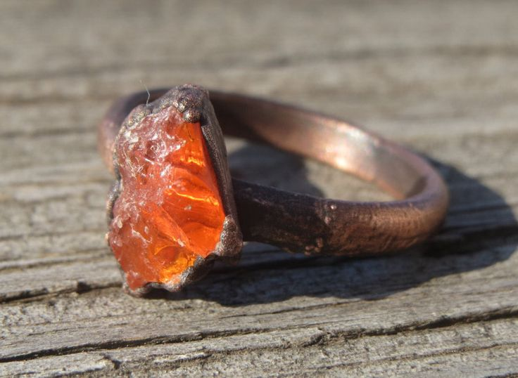 Raw,Flame Opal Electroformed Copper Ring. Unique uncut orange red opal ring. Organic, earthy, boho ring by LoMoStudio on Etsy