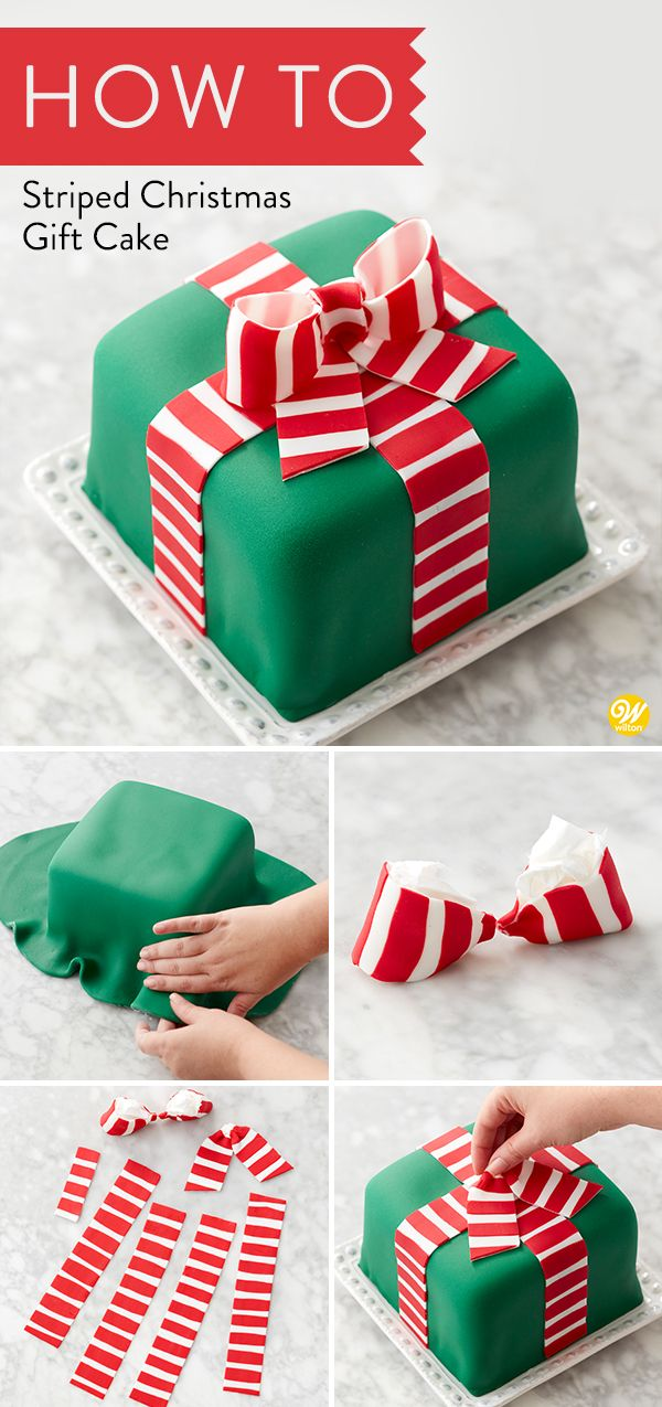 Give the gift of a Christmas dessert with this Striped Christmas Gift Cake! Deco…