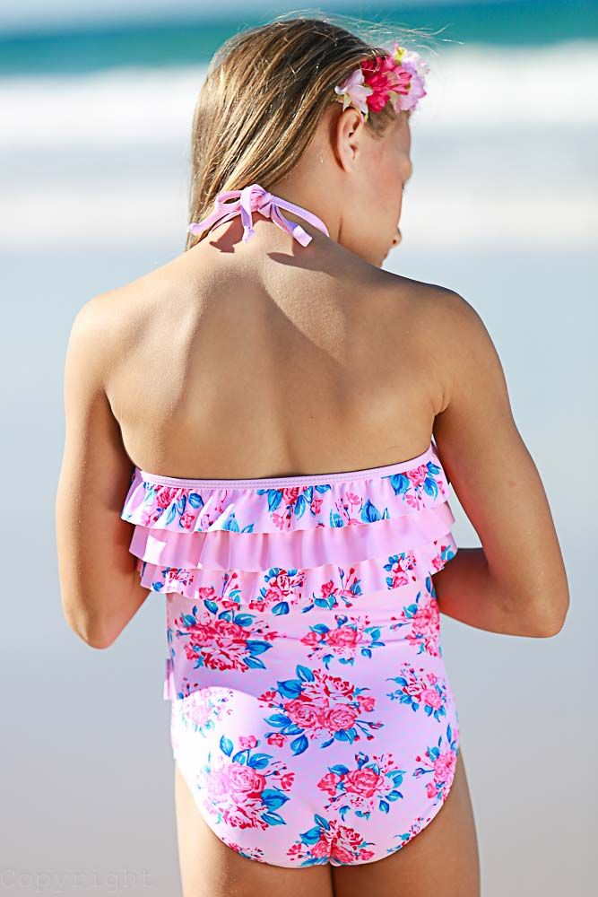 Vintage Rose One Piece with Ruffles Back View