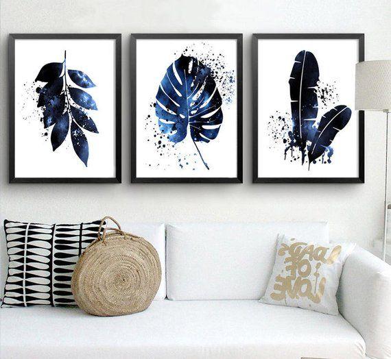 Pin By Viviane Augou On Home Bedroom In 2021 Navy Blue Wall Art Leaf Art Blue Wall Art