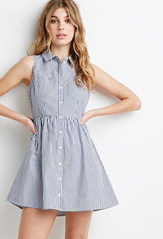 Striped Button-Down Dress | Forever21 - 2000052312
