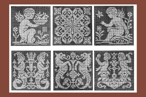 Iva Rose Vintage Reproductions - 1917 Medium Size Square and Rectangular Motifs in FIlet Lace