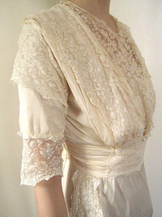 GORGEOUS. Antique Wedding Dress Bohemian Edwardian Wedding Silk Dress. $480.00, via Etsy.