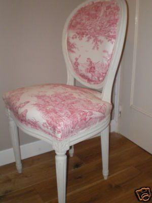 Chaise medaillon tapissière toile de jouy avec scènettes champêtres