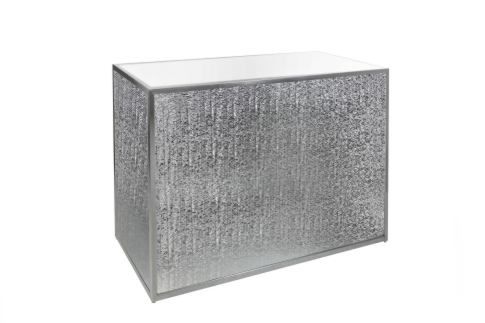 Silver textured plexi 4 ft bar - interior shelf included