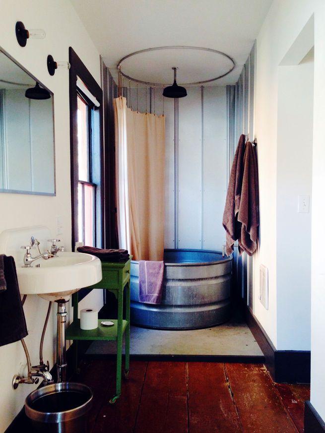 Stickett Inn bathroom with galvanized bathtub from Instagram account @dwellmagazine