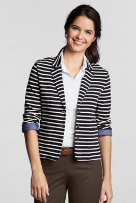 Womens Nautical Stripe Beanie Hat - BLUE Lands End vE587I3i