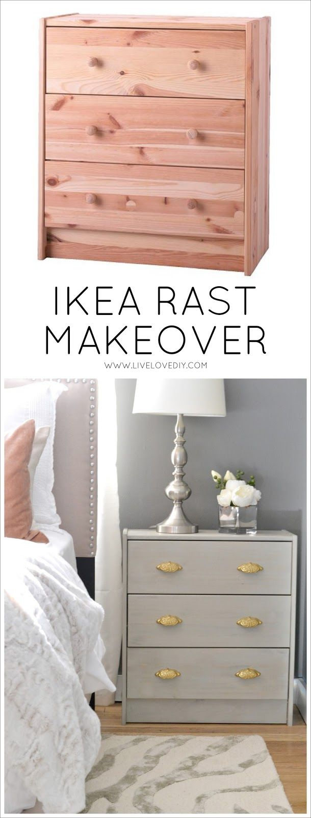Check out this IKEA fan's weathered gray wood stained RAST dresser DIY project on the LiveLoveDIY blog!