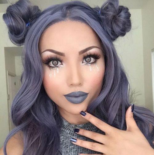 Seriously silver gray hair.