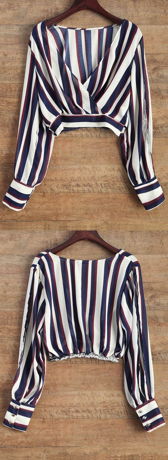 $12.49 Striped Slit Sleeve Cropped Surplice Blouse zaful,zaful.com,zaful fashion,zaful online shopping,tops,womens tops,long sleeves,long sleeve tops,blouse,blouses,blouse designs,blouse outfit,blouse outfit casual,blouse outfit summer,blouse,teen,teens,teen fashion,outfits for teens,2017 fashion,2017 trends,shoes,top,skirt,jeans,shirts,clothes,white blouse,womens shirts,women's blouses,pantsuit,silk blouse,black blouse,off the shoulder tops,crop top,green top,sequin top,tunic tops for women