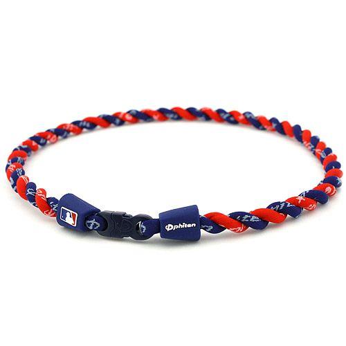 Phiten Necklaces: Atlanta Braves Tornado MLB Authentic Collection Titanium