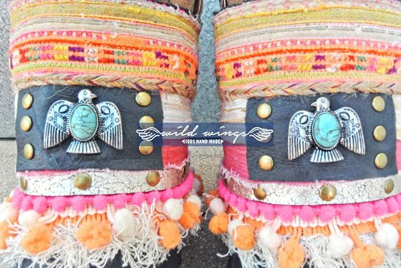 Boho Boot Cuffs. Decorated by hand using Indian fabrics, pompons, thread fringes, handmade leather patch with rivets and Eagle charm with turquoise, leather fringes, jute braid with colored threads, antique tribal textiles, golden belt and cotton laces with silver charms. Give a