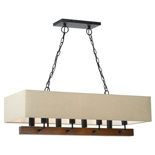 Cal Lighting Burley Island Transitional Chandelier with burlap shade. The finish is Wood & Black. This is a great item for your bar area, kitchen, or counter area or office.