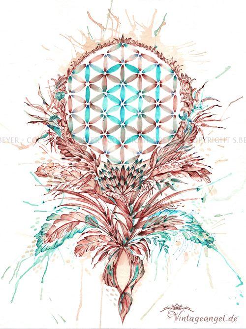Blume Des Lebens, Symbol, Ink auf Papier, Flower of life