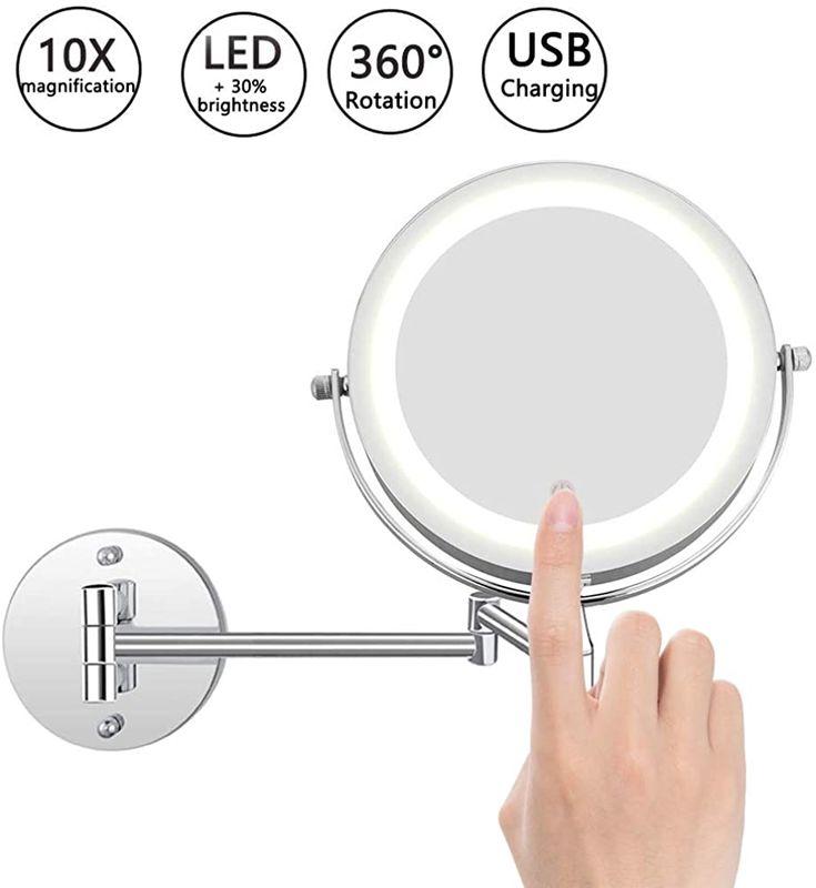 Favson Doppelseitiger Kosmetikspiegel Wandmontage 10x Fache Vergrosserung Kosmetikspiegel Touchscreen Dimmbarer Mit Bildern Kosmetikspiegel Kosmetikstudio Badezimmer Mobel