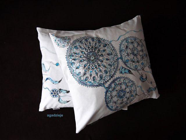 agadzieje: Błękitny łapacz snów ( malowanie na tkaninie )